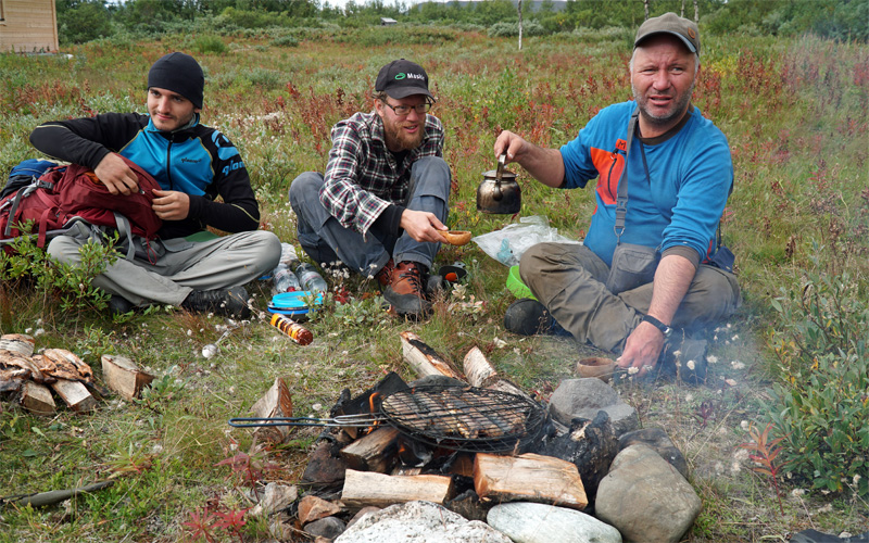 Dinner during Sarek hike